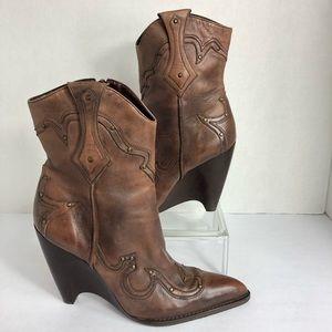 BCBGirls Leather Stud Cowboy Wedge Heel Bootie 7.5